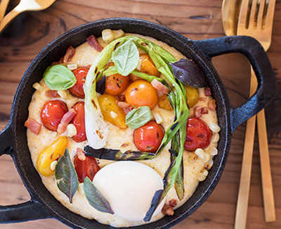 Creamy Polenta and Charred Summer Vegetables with a Soft Farm Egg