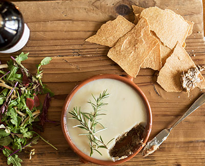 Rosemary Pork Rillette and Olive Oil Crackers with Mustard Greens